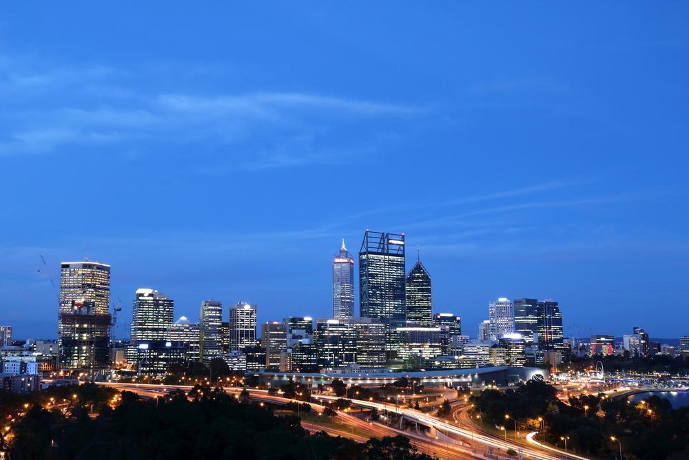 Perth's CBD lit up at night